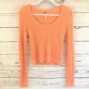 Free People the cable guy cropped orange sweater